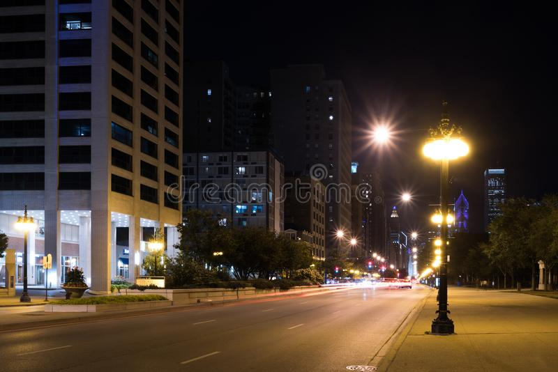 Lights of summer night Chicago Downtown streets royalty free stock images