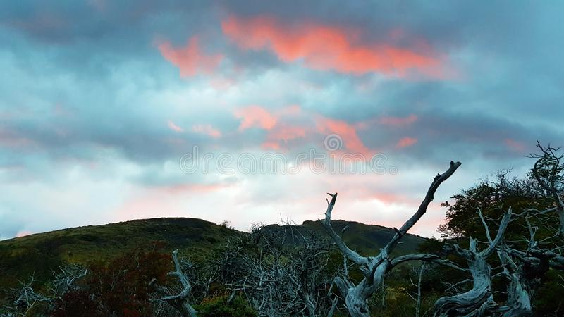 Lights of the sunset in Patagonia, Torres del Paine National Park, Chile stock image