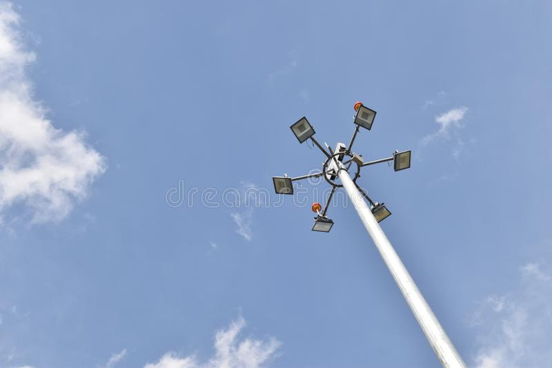 LIGHTS AT THE TOP OF POLE royalty free stock images