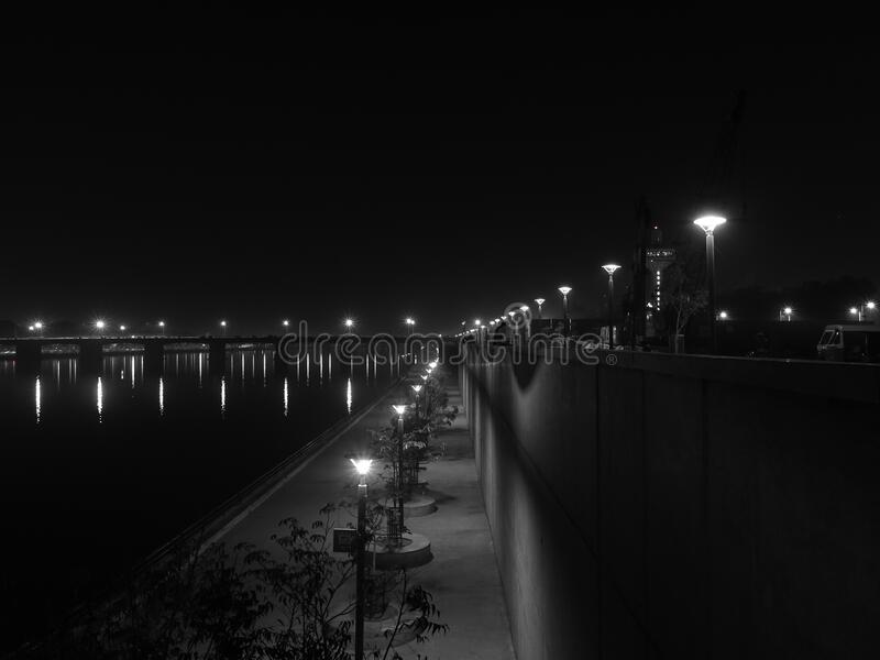 Lights Turned On During Nighttime In Grayscale Photography Free Public Domain Cc0 Image