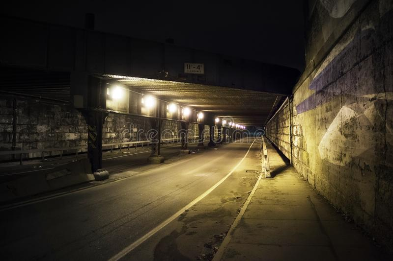 Lights in an underground tunnel stock image