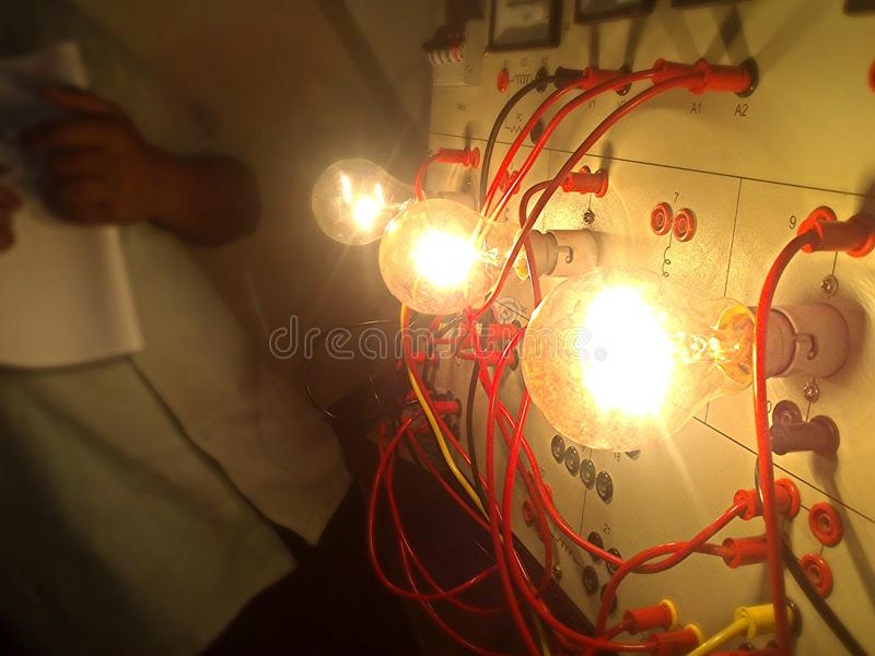 Lights and wiring royalty free stock images