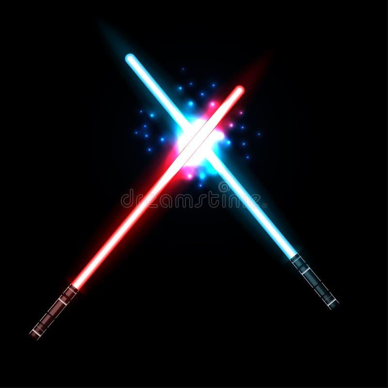 Lightsaber, dos cruz? las espadas ligeras lucha Lasers azules y rojos de la traves?a Elementos del dise?o para sus proyectos del  ilustración del vector
