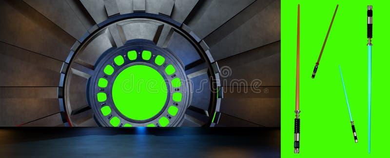 Lightsaber en el ambiente del espacio, alista para los comp de su characte stock de ilustración