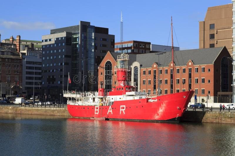 Lightship in Liverpool Docks. LV23 Light Ship as it was known, moored up in Canning Dock, Liverpool is now commonly called the Mersey Planet and used as a cafe royalty free stock photo