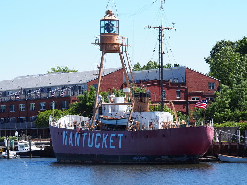 Lightship Nantucket II WLV 613 , MA. The Lightship Nantucket II WLV613 ,MA was the last lightship built in the United States . The ship is currently docked in royalty free stock image