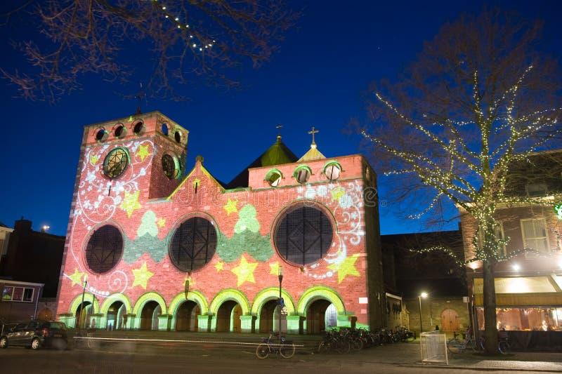 Lightshow na kościół obrazy stock