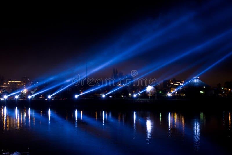 Lightshow nad śródmieściem przy nocą, Vancouver, Kanada obrazy royalty free