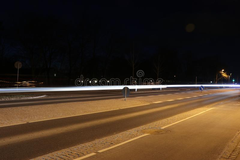 Lighttrails of cars royalty free stock photos