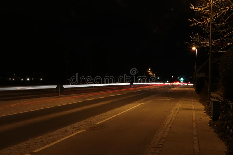 Lighttrails of cars royalty free stock images