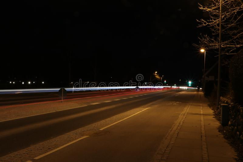 Lighttrails de coches imagen de archivo libre de regalías