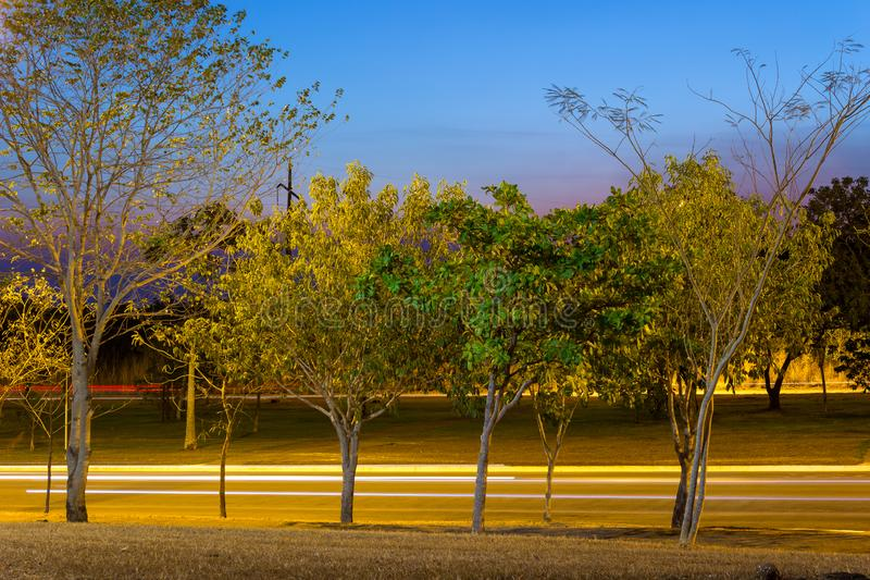 Night picture with light trails of cars on a road in Palmas City, Tocantins, Brazil. Green trees and sky with intense tones of blue, lavender and purple. 2017 stock images
