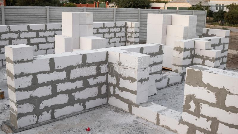 Lightweight concrete block the bricks used in the construction of the new series are popular. Reduce heat resistant royalty free stock photography