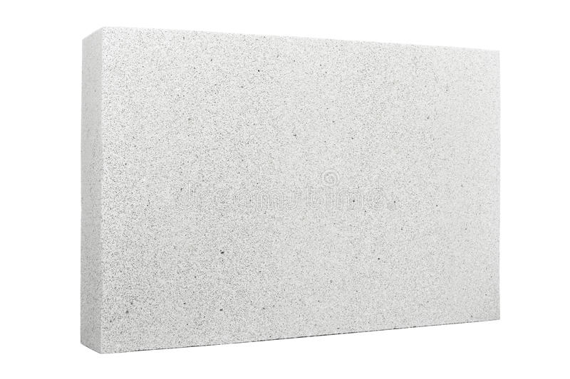 Lightweight foamed gypsum block isolated on white.  royalty free stock photography