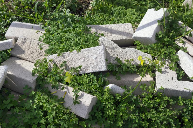 Lightweight foamed gypsum block overgrown with grass. Concept- abandoned construction stock photography