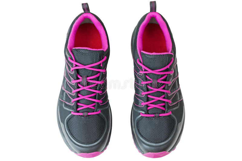 Lightweight hiking boots shoes for women in black and pink, isolated on white royalty free stock photography