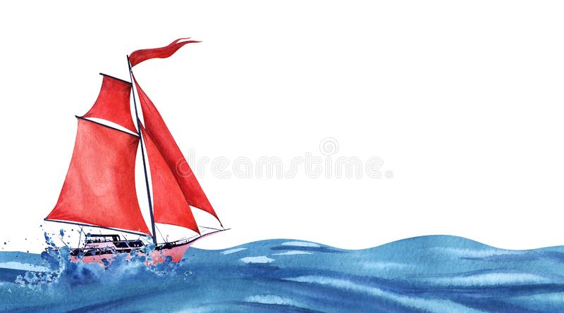 Lightweight pink abstract sailing yacht with red sails and a red waving flag. Sailing forvard the ocean waves and spray. Boat at stock photo
