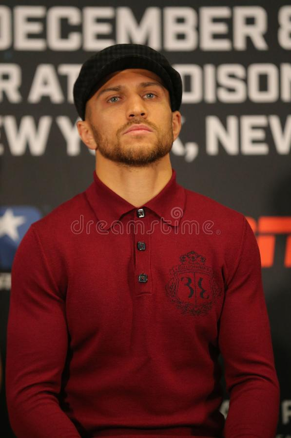 Lightweight world champion Vasiliy Lomachenko during final press conference before title unification fight against Jose Pedraza. NEW YORK - DECEMBER 6, 2018 stock image