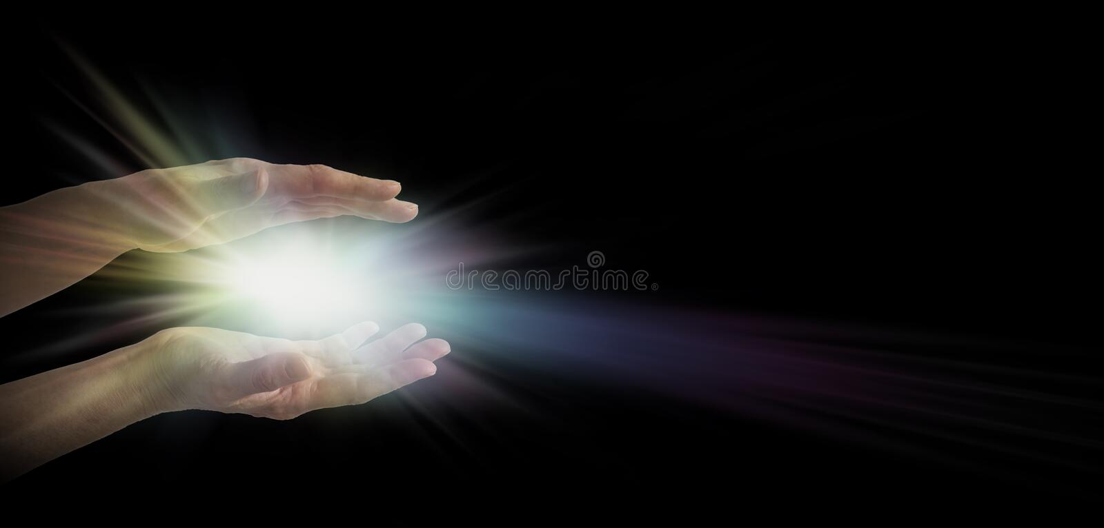 Lightworker. Pair of female hands emerging from the darkness with an explosion of white and rainbow tinted light energy between parallel hands stock illustration