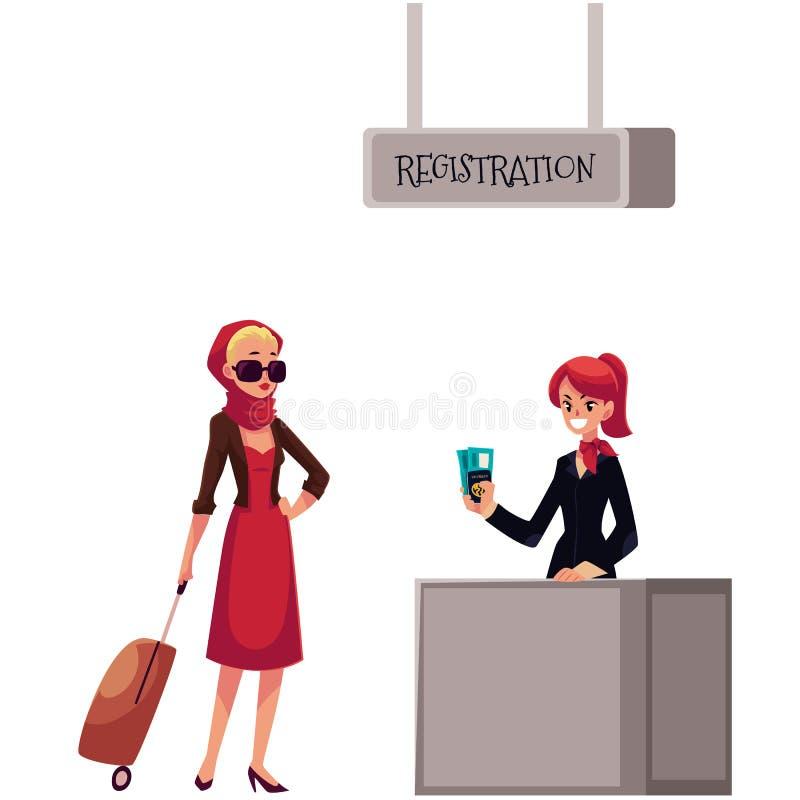 Ligne à l'enregistrement d'aéroport, au passager et au bureau d'enregistrement de bagages illustration stock