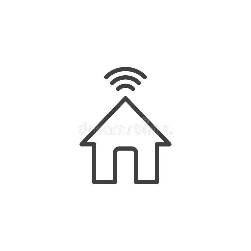 Ligne à la maison de Wifi icône illustration de vecteur