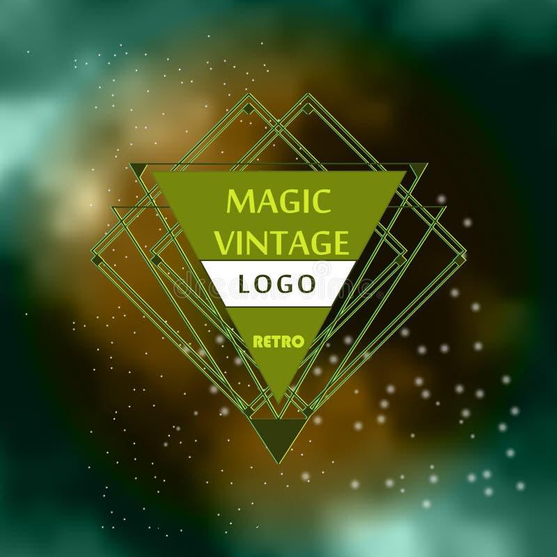 Ligne élégante logo d'insignes au-dessus d'un ciel nocturne illustration libre de droits