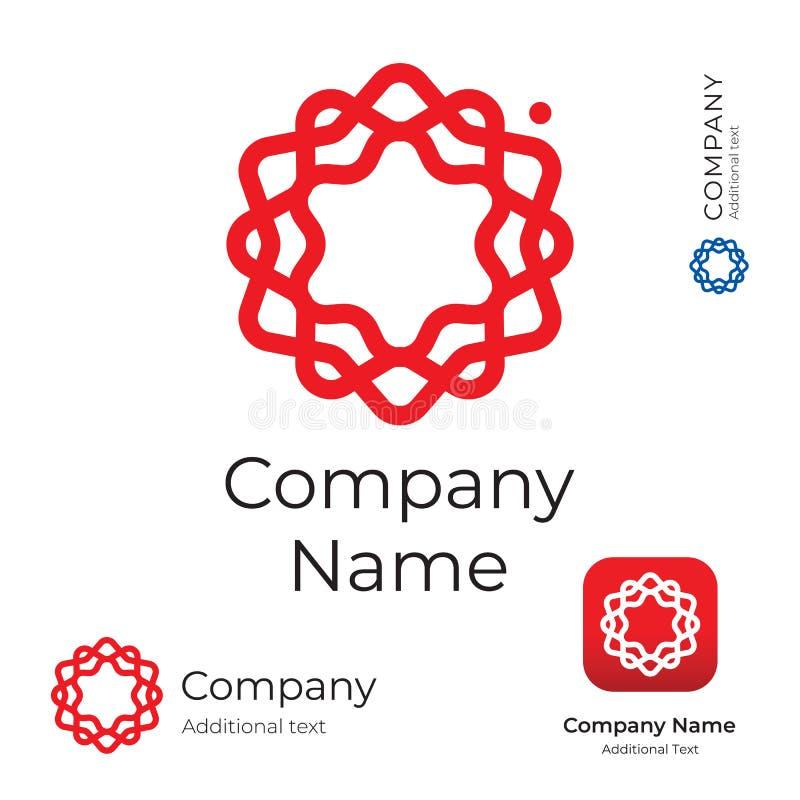 Ligne élégante moderne calibre réglé d'icône de fleur de Logo Identity Brand Symbol App de remous et de concept de bouton illustration de vecteur