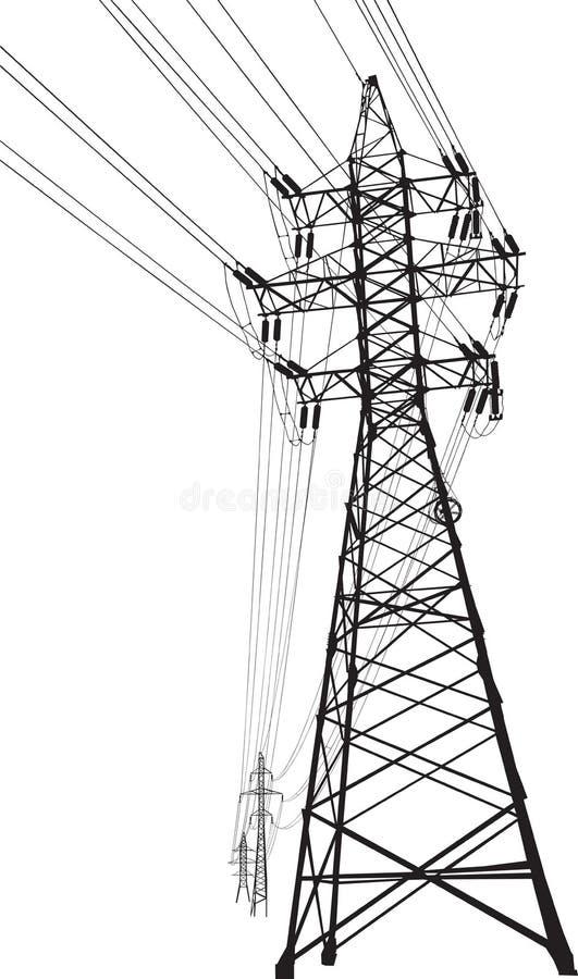 Ligne électrique à haute tension illustration libre de droits