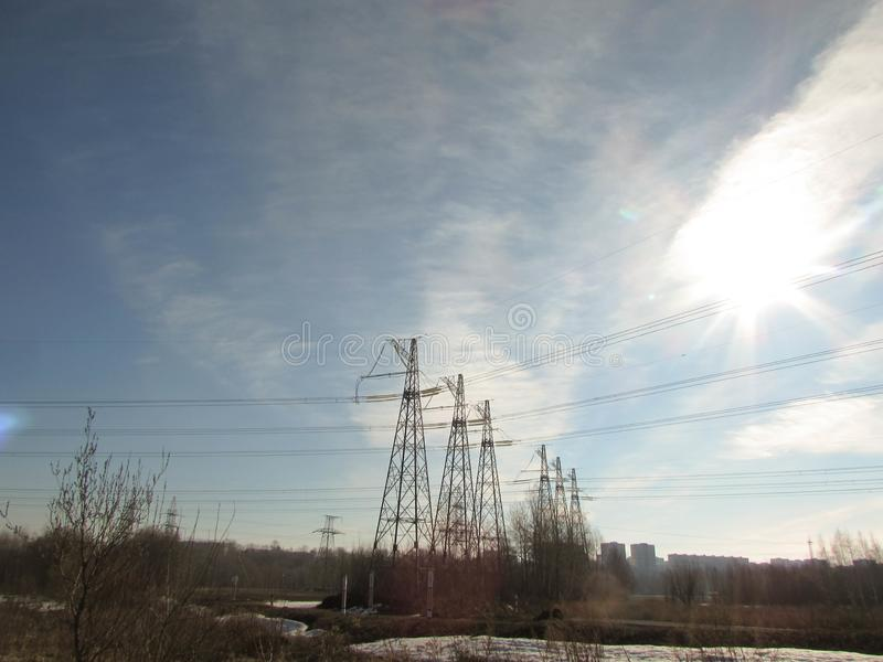 Ligne électrique à Moscou photo libre de droits