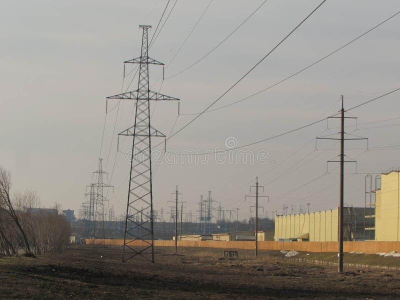 Ligne électrique à Moscou image stock
