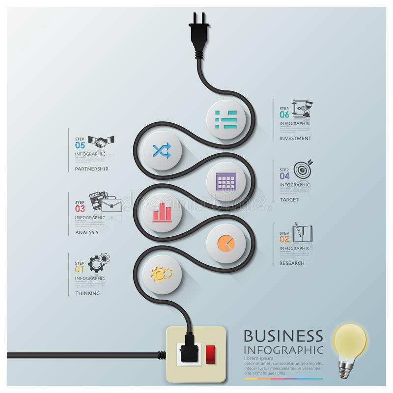 Ligne électrique affaires Infographic de fil de courbe de diagramme illustration libre de droits