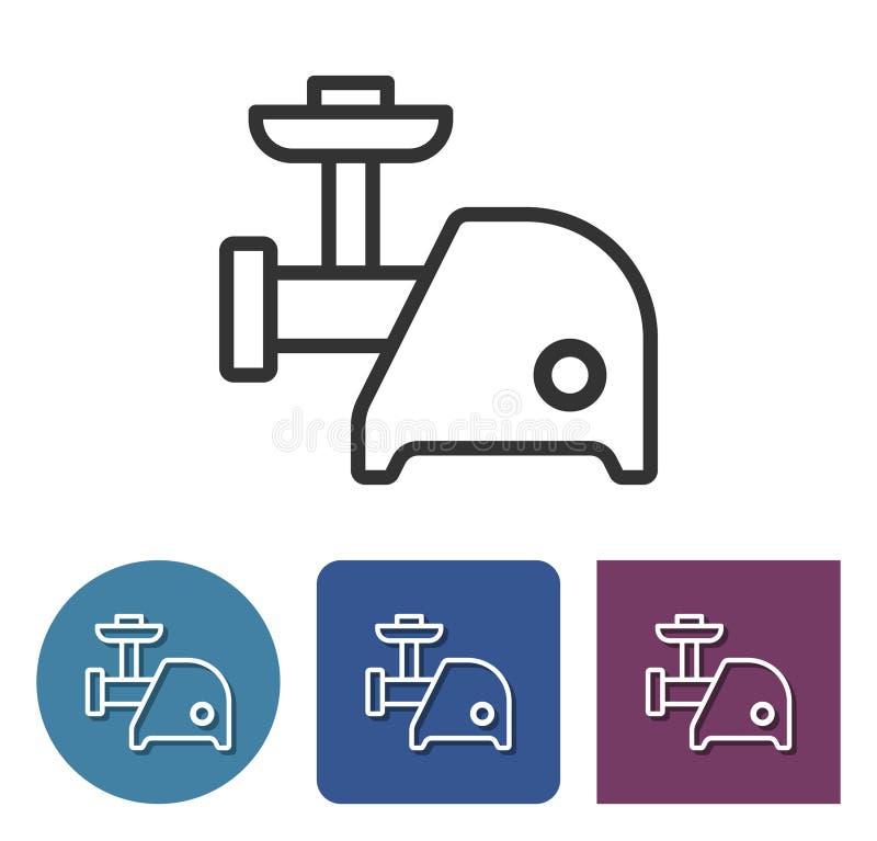 Ligne électrique icône de couperet de viande illustration de vecteur