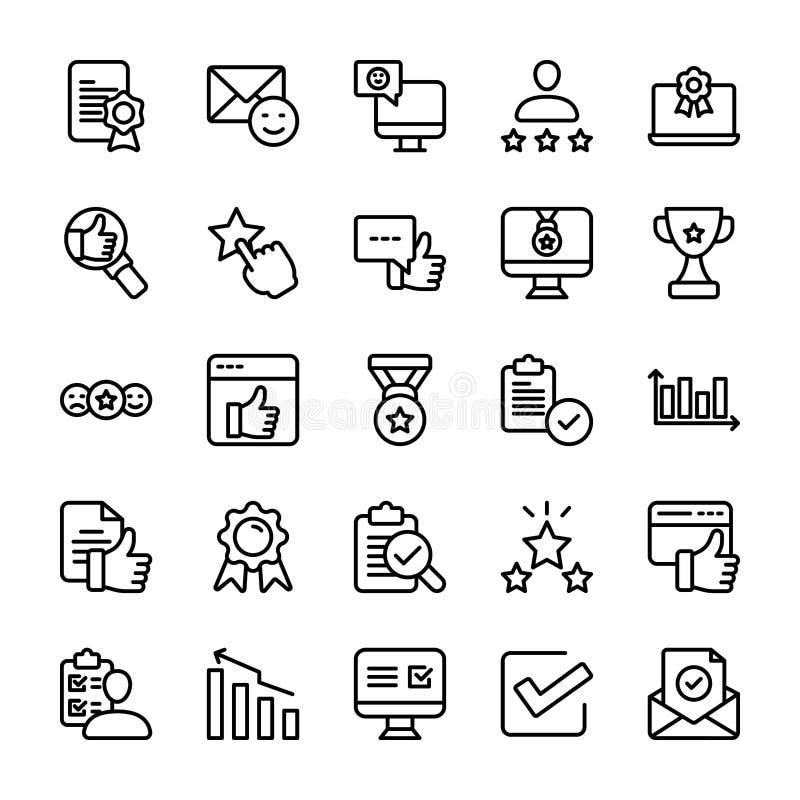 Ligne émotive ensemble d'opinion et de liste de contrôle d'icônes illustration de vecteur