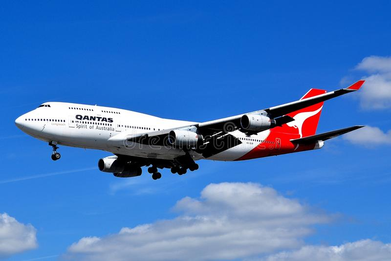 Ligne aérienne Boeing enorme 747 de Quantas image stock