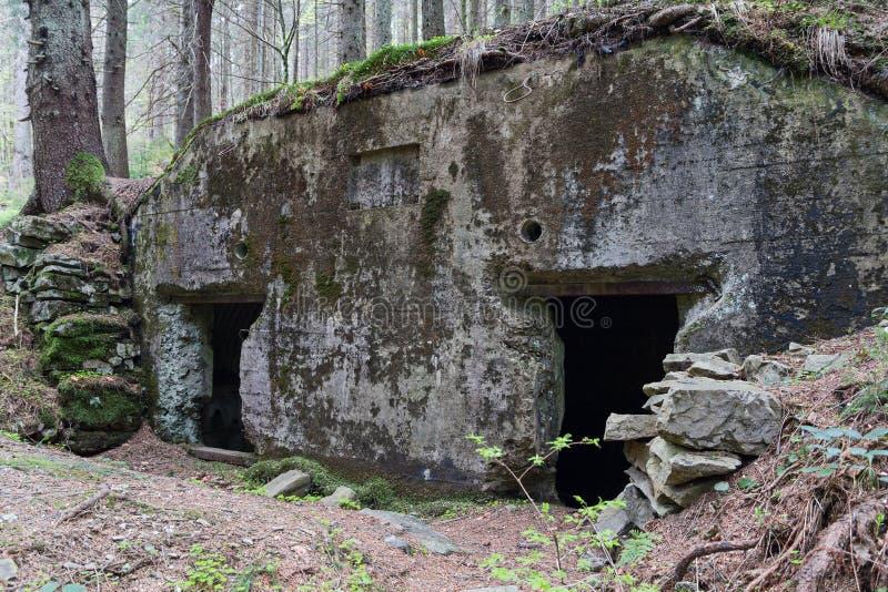 Ligne abandonnée Arpad de fortification depuis la deuxième guerre mondiale images libres de droits