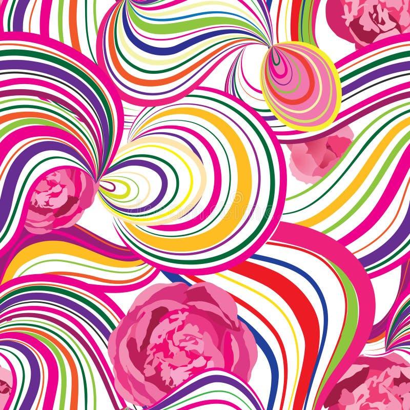 Ligne abstraite de vague et modèle sans couture de boucles Fleur onduleuse de remous illustration stock