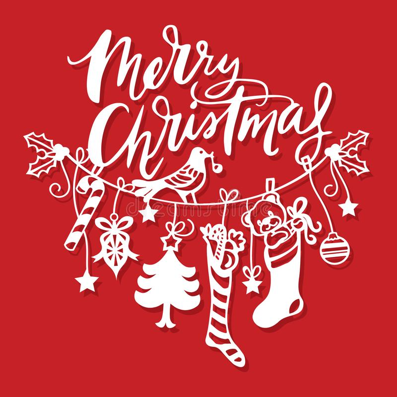 Ligne accrochante coupe de Joyeux Noël de cru de papier de décorations illustration libre de droits