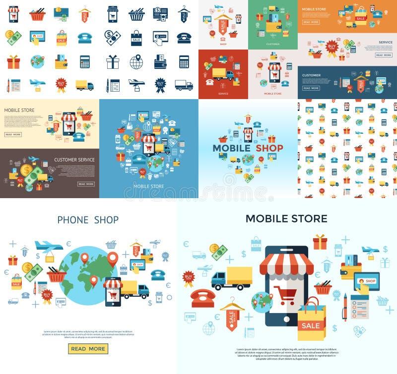 Ligne achats mobiles réglés par icônes de vecteur de PrintDigital illustration libre de droits