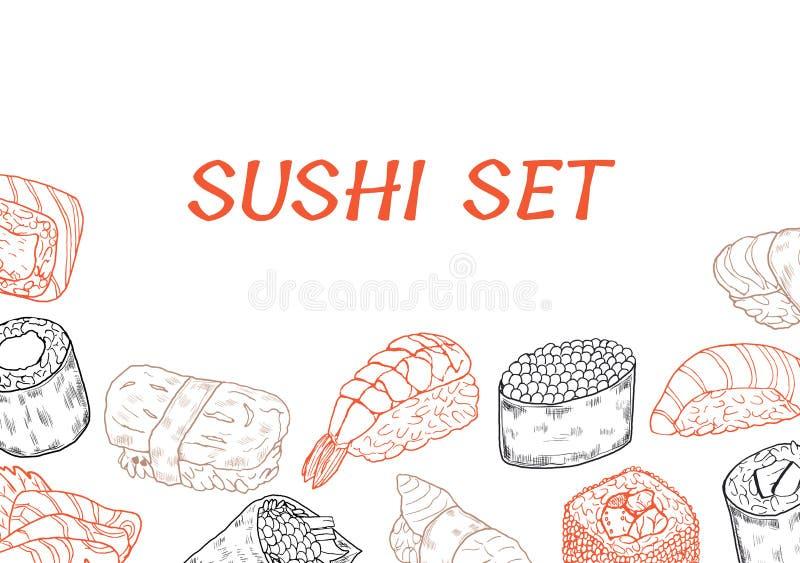 Ligne affiche de sushi et de petits pains images stock