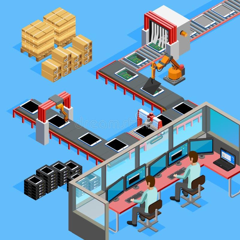 Ligne affiche isométrique de fabrication de convoyeur d'opérateurs illustration libre de droits