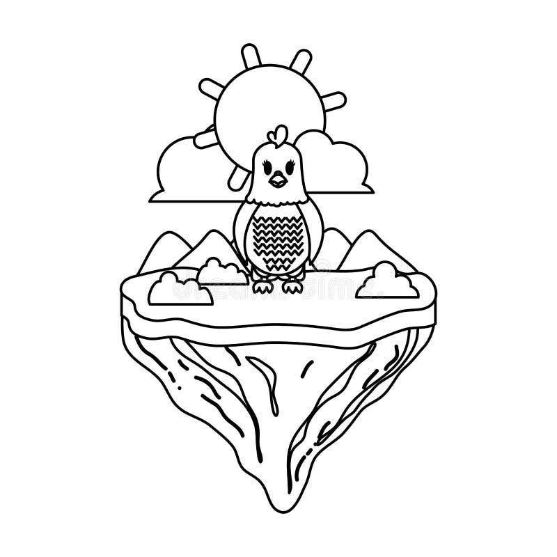 Ligne animal femelle de poule en île de flotteur illustration de vecteur