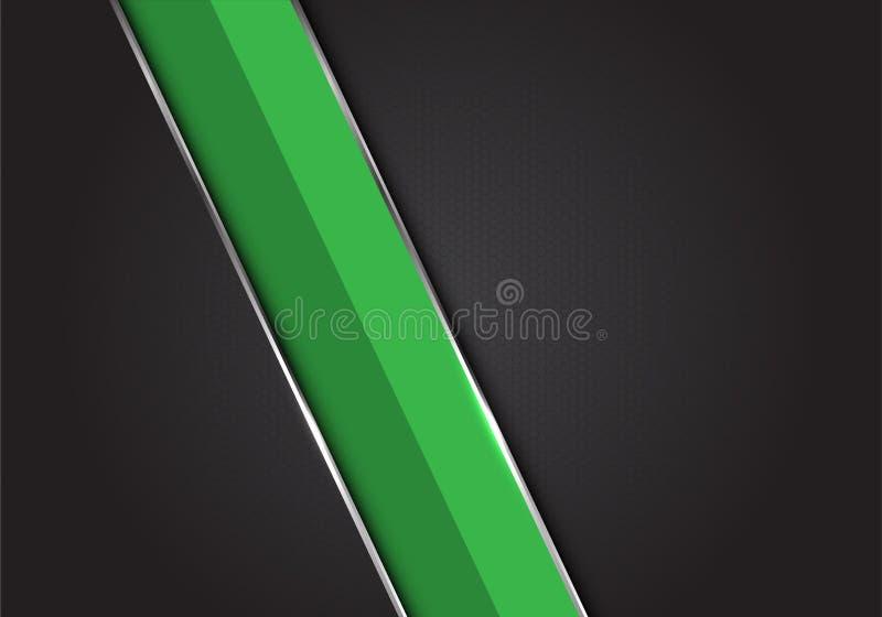 Ligne argentée verte barre oblique de résumé sur le vecteur futuriste de luxe moderne de fond d'hexagone de maille de conception  illustration de vecteur