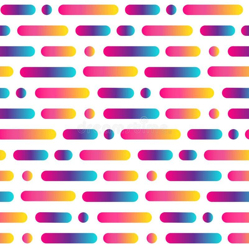 Ligne arrondie lumineuse modèle sans couture de résumé Fond multicolore de rayures et de cercles de gradient Illustration de vect illustration libre de droits