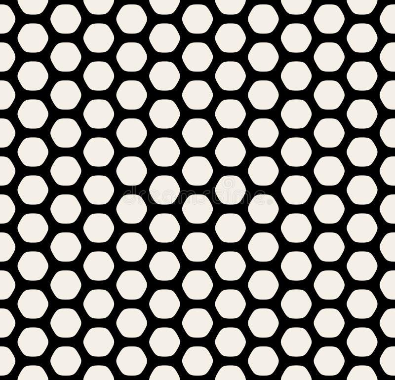 Ligne arrondie noire et blanche sans couture modèle simple d'hexagone de vecteur de nid d'abeilles de grille illustration stock