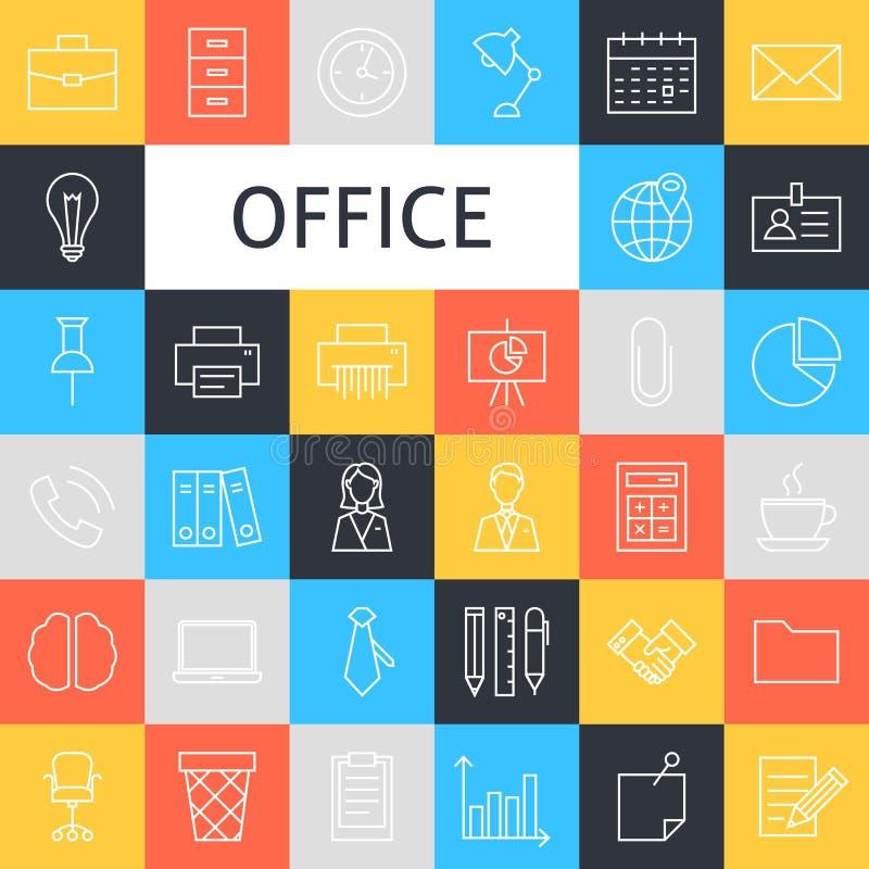 Ligne Art Business Office Icons Set de vecteur illustration stock