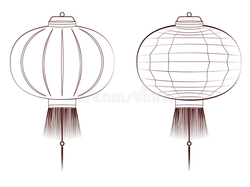 Ligne Art Chinese Lantern illustration libre de droits