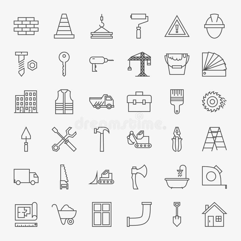 Ligne Art Design Icons Big Set de construction de bâtiments illustration libre de droits
