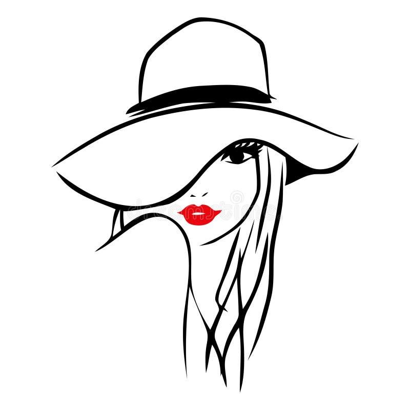 Ligne Art Lady Wearing Floppy Hat d'encre de vecteur illustration stock