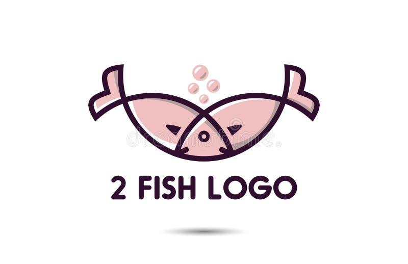 Ligne Art Logo Design de poissons illustration libre de droits