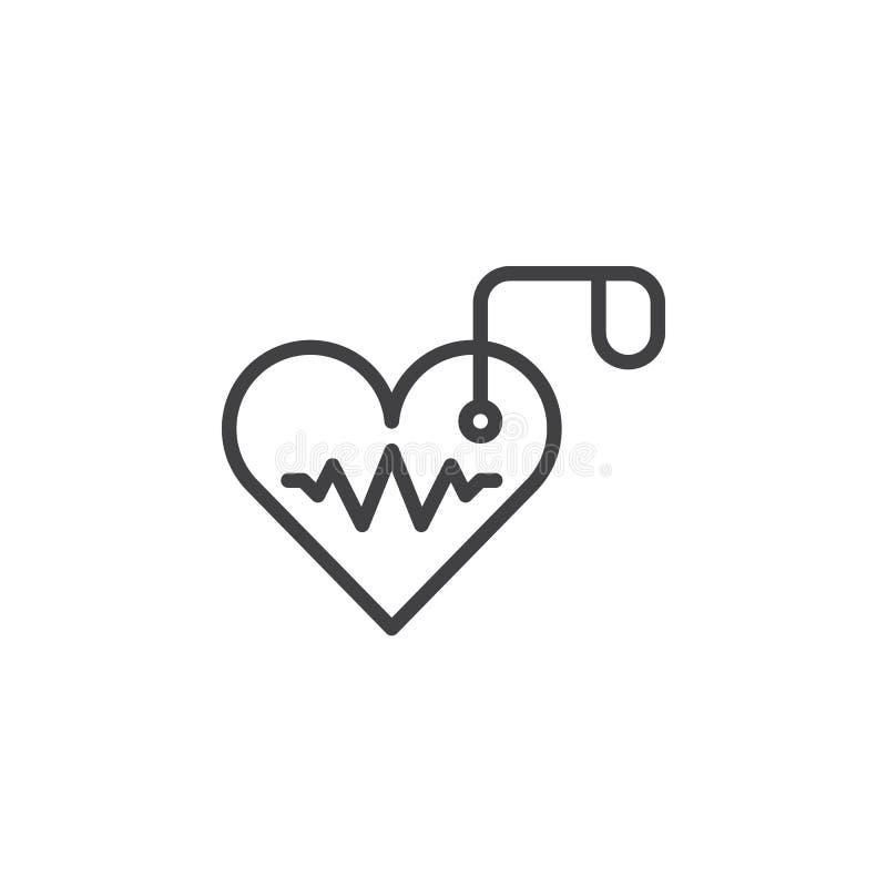 Ligne artificielle icône, signe de vecteur d'ensemble, pictogramme linéaire de stimulateur cardiaque de style d'isolement sur le  illustration de vecteur
